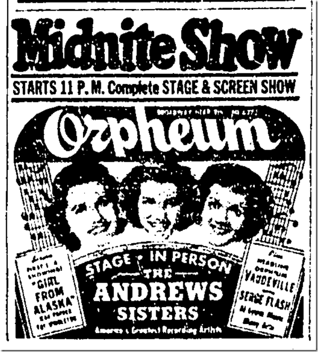 June 13, 1942, Andrews Sisters