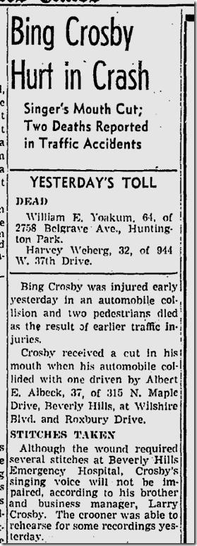 June 2, 1942, Bing Crosby injured