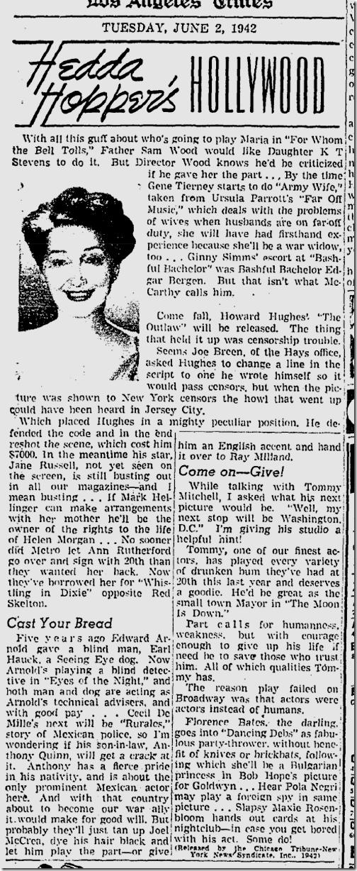 June 2, 1942, Hedda Hopper