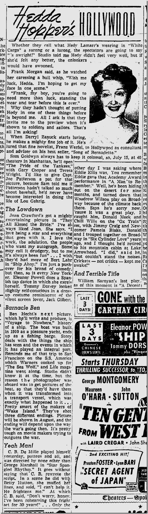 June 22, 1942, Hedda Hopper