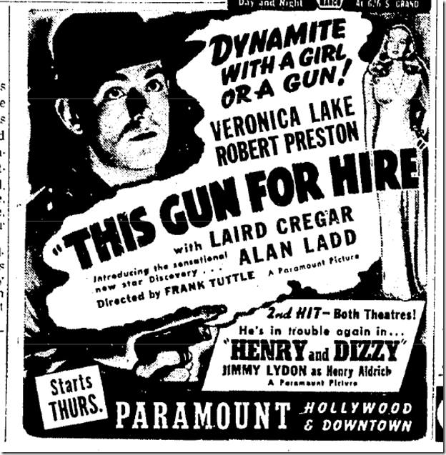 June 23, 1942, This Gun for Hire
