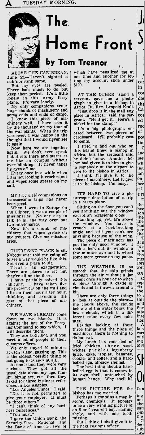 June 23, 1942, Tom Treanor