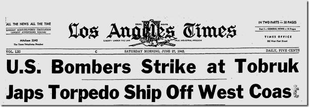 June 27, 1942, Ship Off West Coast Torpedoed