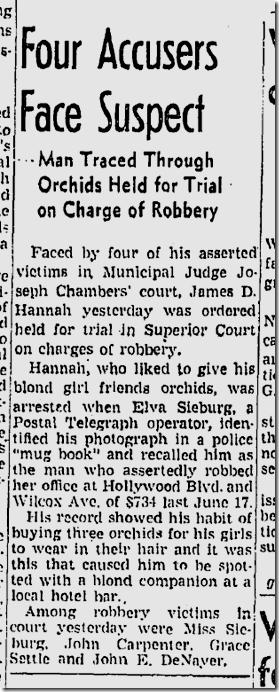 June 27, 1942, Orchid Bandit