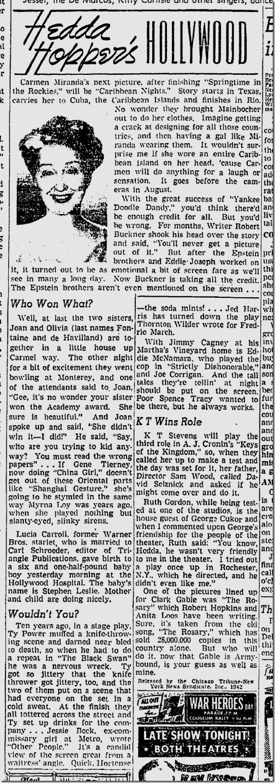 June 27, 1942, Hedda Hopper