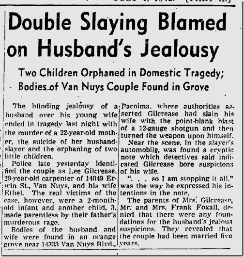July 1, 1942, Murder-Suicide