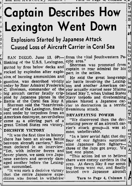 June 14, 1942, Lexington