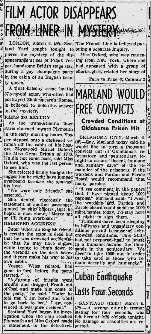 March 7, 1937, Frank Vosper