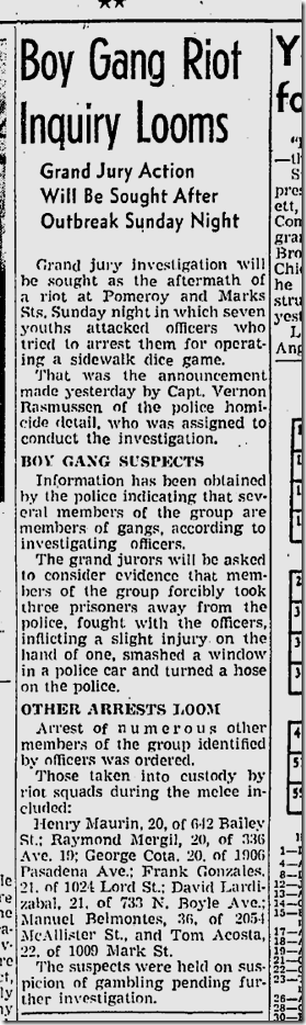 July 28, 1942, Gang Melee