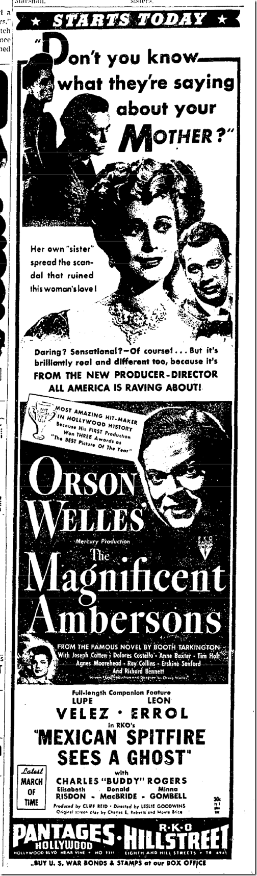 July 7, 1942, Magnificent Ambersons
