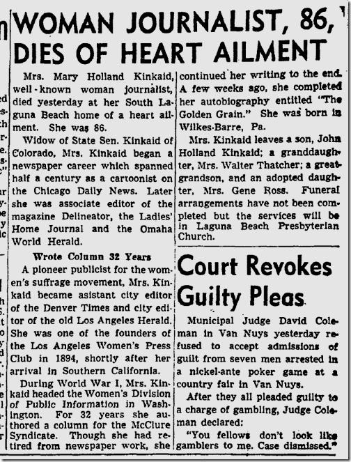 Oct. 21, 1948, Mary Holland Kinkaid