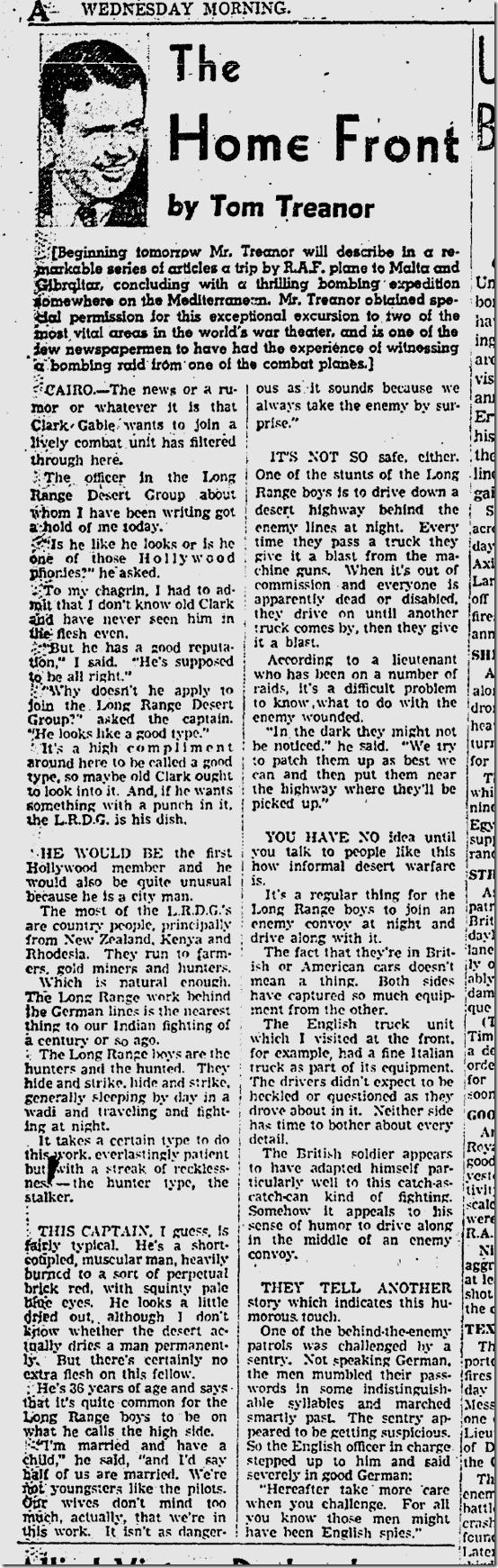 Sept. 9, 1942, Tom Treanor