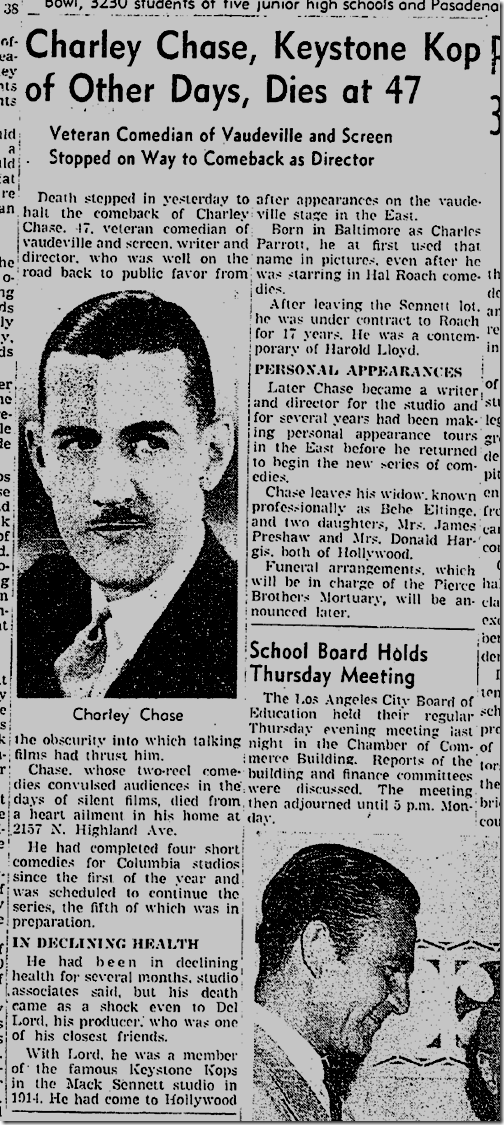 Chaley Chase Dies, June 21, 1940