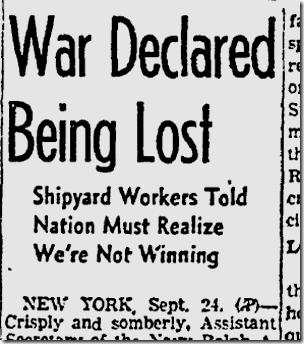 Sept. 25, 1942, U.S. Losing War!