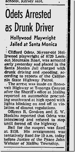 Sept. 8. 1942, Clifford Odets DUI