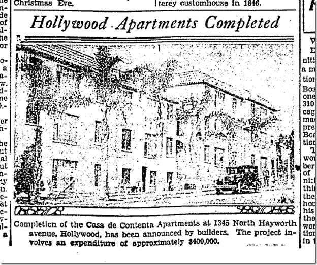 Dec. 22, 1929, Casa de Contenta
