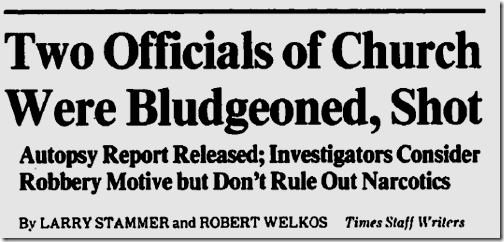 Nov. 9, 1982, Church Robbery