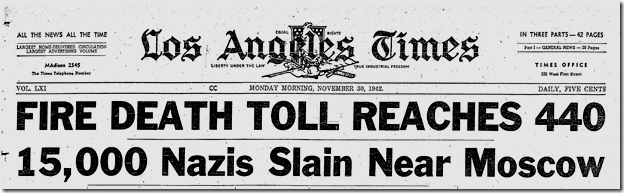 Nov. 30, 1942, Cocoanut Grove Fire