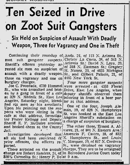 Nov. 2, 1942, Zoot Suit Gangsters