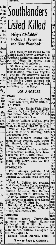 Dec. 12, 1942, Killed