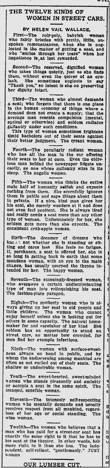 Jan. 3, 1913, Women on Streetcars