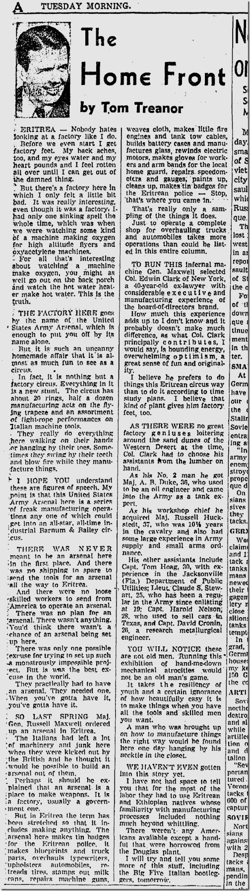 Dec. 1, 1942, Tom Treanor