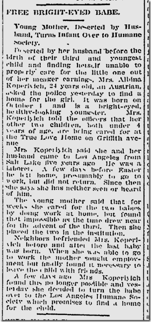 Jan. 9, 1913, Baby