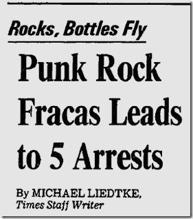 Jan. 10, 1983, Punk Rock Riot