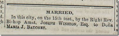 Jan. 17, 1863, Joseph Winston is married to Dona Maria J. Bauchet.