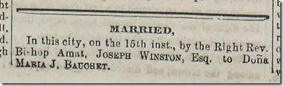 Jan. 17, 1863, Joseph Winston is married to Dona Maria J. Bauchet.