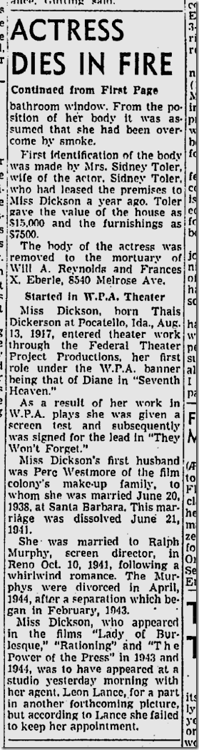 April 11, 1945, Gloria Dickson