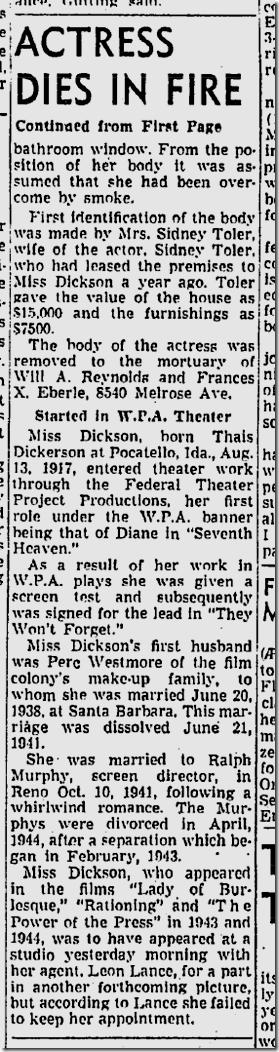 April 11, 1945, Gloria Dickson