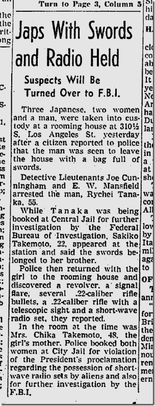 Jan. 4, 1942, Japanese Arrested