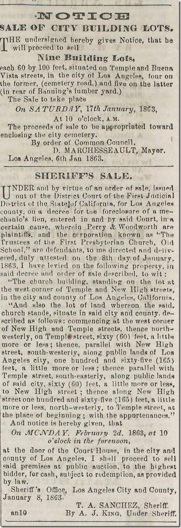 Jan. 10, 1863, Sale of City Lots