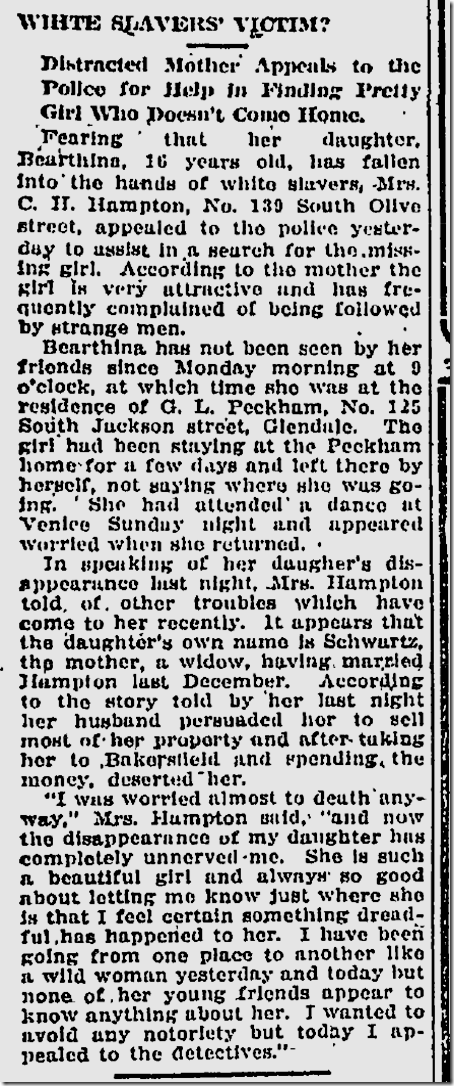 March 27, 1913, Missing