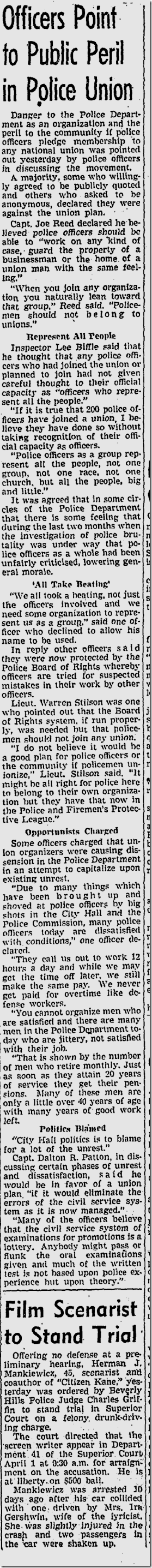 March 20, 1943, Police Union