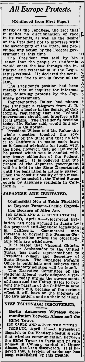 April 10, 1913, Immigration