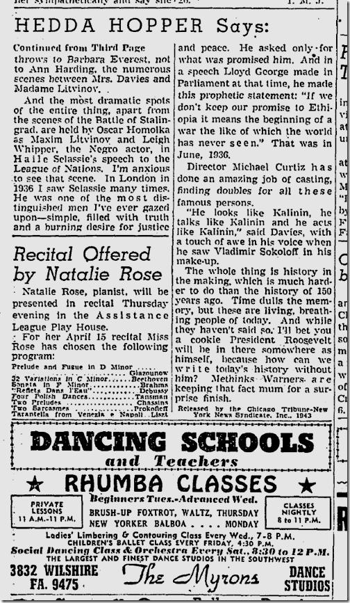 April 11, 1943, Hedda Hopper