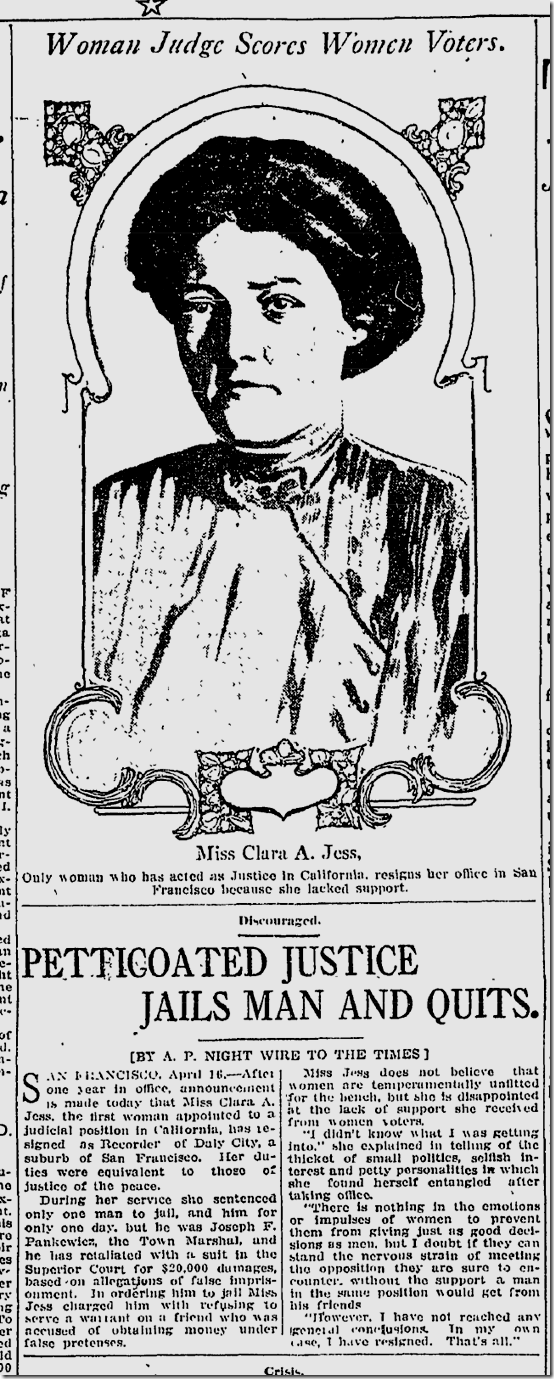 April 17, 1913, First Woman Judge