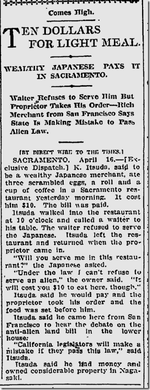 April 17, 1913, Expensive Meal