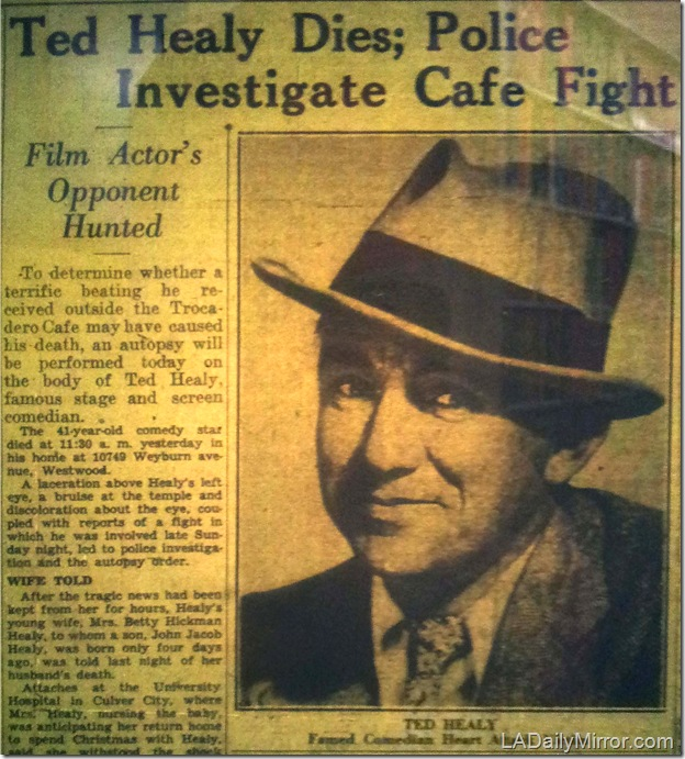 Dec. 22, 1937, Los Angeles Examiner, Ted Healy