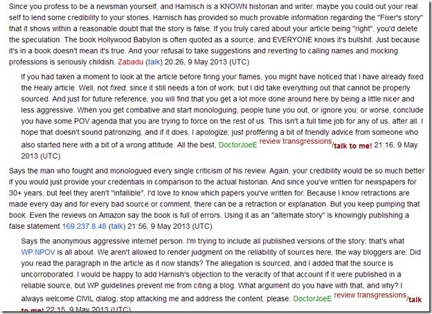 Wikipedia DoctorJoeE talk