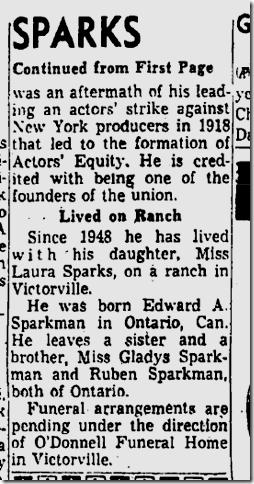 April 4, 1957, Ned Sparks