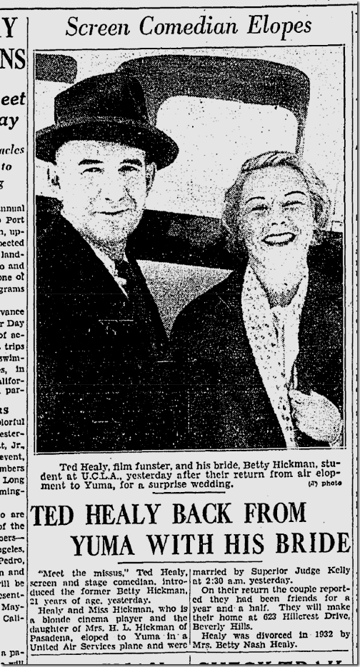 May 16, 1936, Healy Elopes