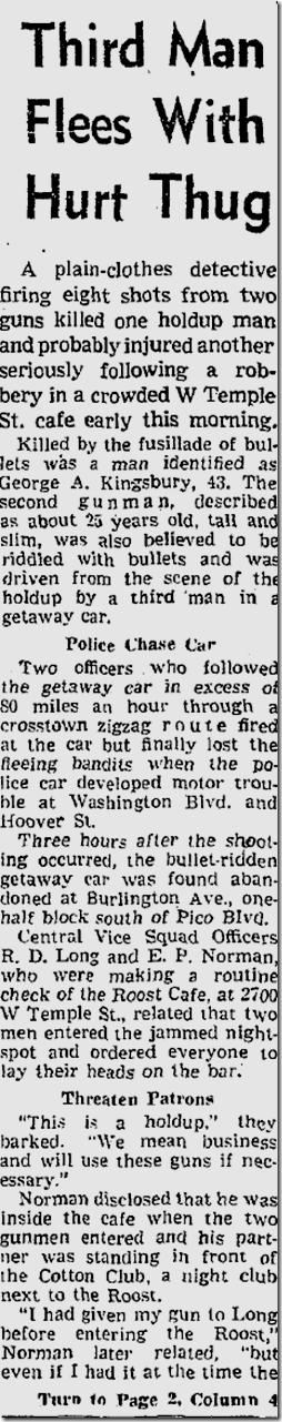 June 26, 1953, Roost Holdup