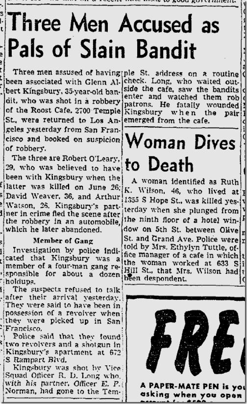 July 4, 1953, Roost Holdup