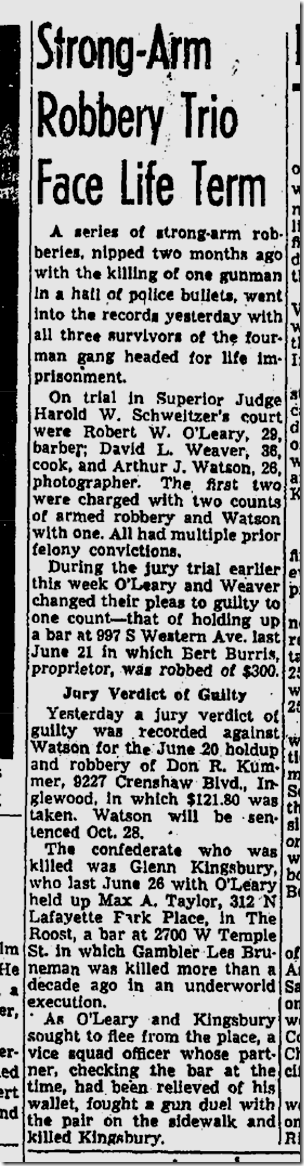 Oct. 10, 1953, Roost Holdup