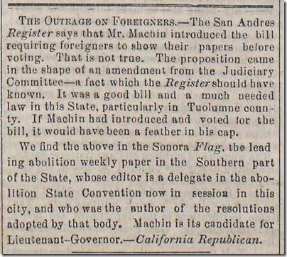 July 4, 1863, Voting by Foreigners