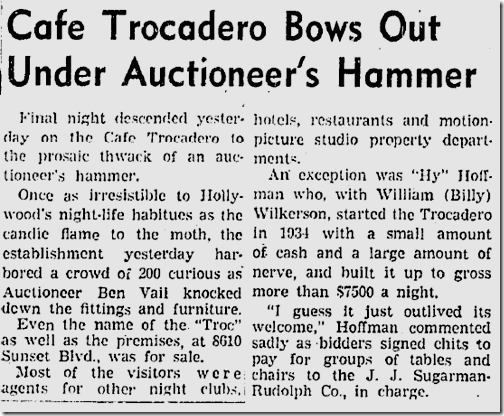 May 14, 1940, The Trocadero Closes