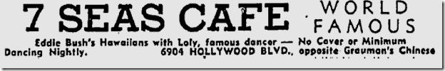 Jan. 27, 1939, Seven Seas Cafe